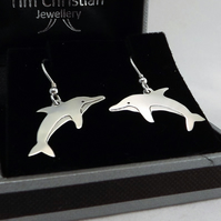 Dolphin Drop Earrings, Silver Nature Jewellery, Handmade Wildlife Gift