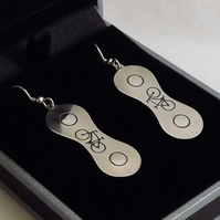Bicycle Chain Drop Earrings, Cycling Jewellery, Gift for Cyclist