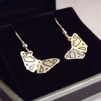 Butterfly Drop Earrings, Silver Wildlife Jewellery, Gift for Nature Lovers