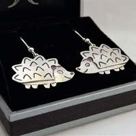 Hedgehog Drop Earrings, Silver Wildlife Jewellery, Nature Lover Gift