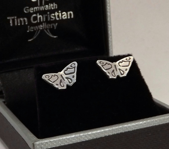 Butterfly Stud Earrings, Silver Wildlife Jewellery, Handmade Nature Gift for Her