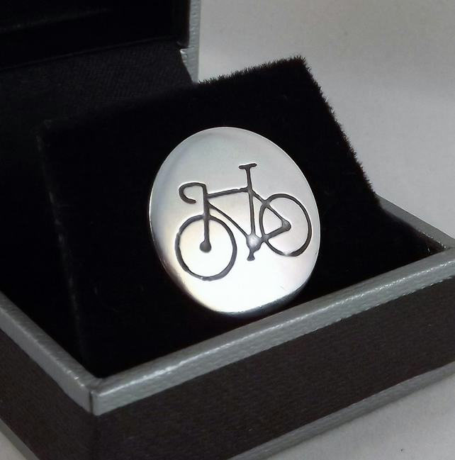 Bicycle Disc Tie Pin, Silver Bike Jewellery, Cycling Gift for Men
