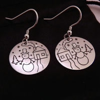 Snowman Drop Earrings, Silver Christmas Jewellery, Winter Gift for Her