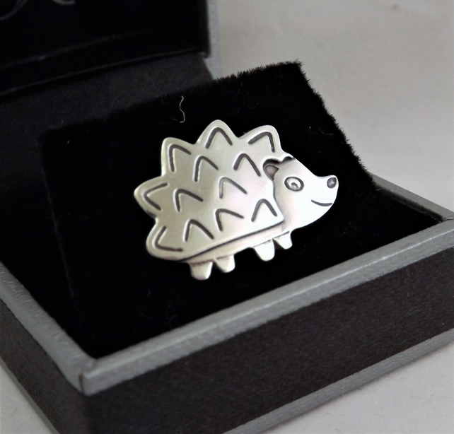 Hedgehog Tie Pin, Silver Wildlife Gift, Handmade Nature Jewellery
