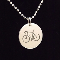 Bicycle Pendant (Disc), Gift for Cyclist, Handmade Bike Jewellery