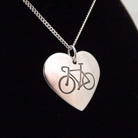 Heart Bicycle Pendant, Silver Cycling Gift, Handmade Jewellery for Cyclist