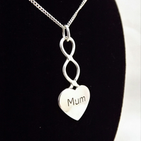 Large Mum Heart Pendant, Silver Celtic Necklace, Handmade Welsh Jewellery