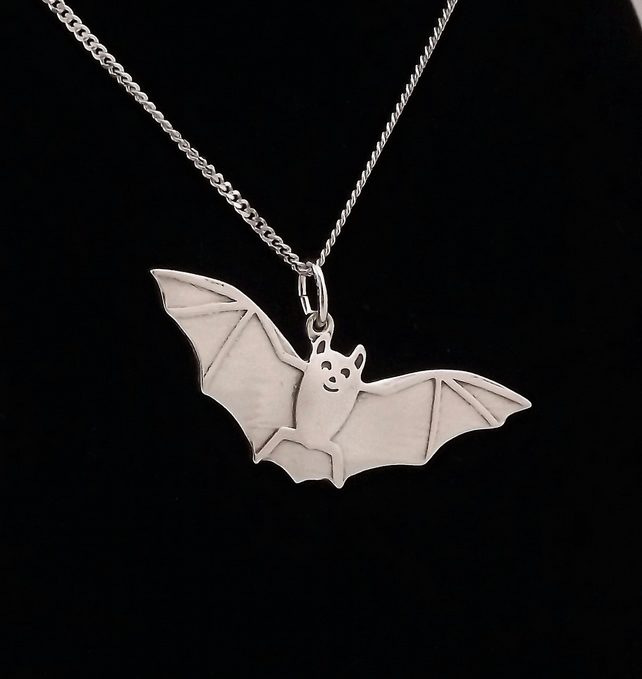 Bat Pendant, Silver Wildlife Necklace, Handmade Nature Jewellery Gift