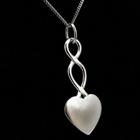 Small Heart Pendant, Silver Celtic Jewellery, Handmade Gift for Her