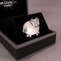 Pig Tie Pin, Silver Farm Animal Jewellery, Handmade Piglet Gift
