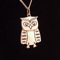 Owl Pendant, Silver Bird Jewellery, Handmade Wildlife Gift, Nature Necklace