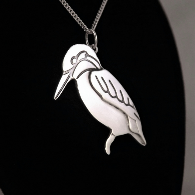 Kingfisher Pendant (Large), Silver Bird Necklace, Handmade Wildlife Jewellery