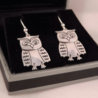 Owl Drop Earrings, Silver Bird Jewellery, Handmade Animal Gift, Nature Earrings