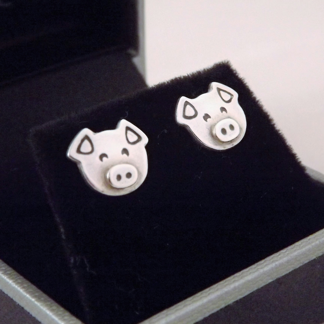 Pig Stud Earrings, Silver Farm Animal Jewellery, Handmade Piglet Gift for Her