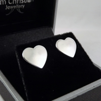 Heart Stud Earrings, Silver Love Jewellery, Handmade Gift for Her