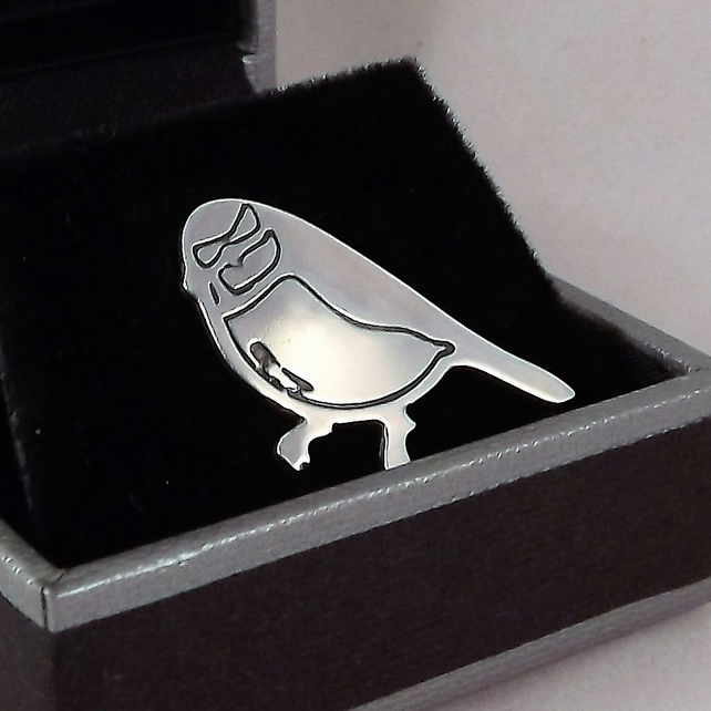 Blue Tit Tie Pin, Silver Bird Jewellery, Handmade Wildlife Gift for Him