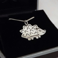 Hedgehog Pendant, Silver Wildlife Jewellery, Nature Necklace, Animal Lover Gift