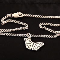 Butterfly Anklet, Silver Wildlife Jewellery, Handmade Nature Gift for Her