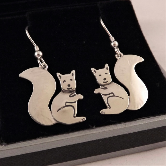 Squirrel Drop Earrings, Silver Wildlife Jewellery, Handmade Animal Gift for Her
