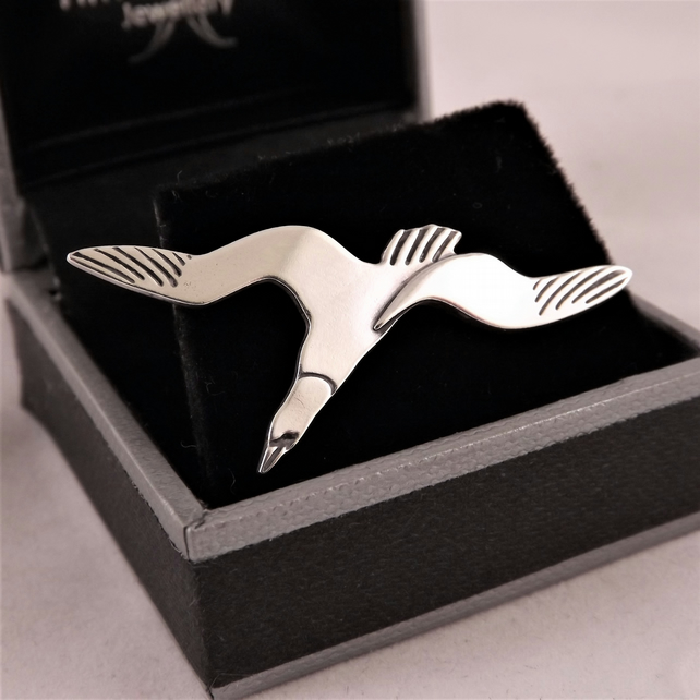 Gannet Tie Pin, Silver Bird Jewellery, Handmade Wildlife Gift for Men