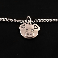 Pig Anklet, Silver Farm Animal Jewellery, Handmade Piglet Gift for Her