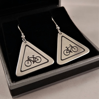 Cycling Road Sign Drop Earrings, Silver Bicycle Jewellery, Handmade Bike Gift