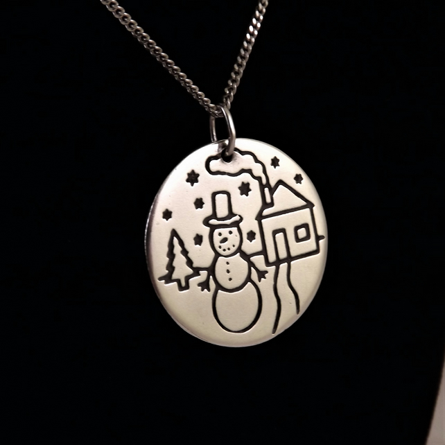 Snowman Pendant, Silver Christmas Necklace, Handmade Winter Gift