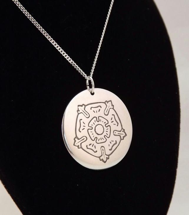 Tudor Rose Pendant, Handmade Silver Necklace, Jewellery Gift