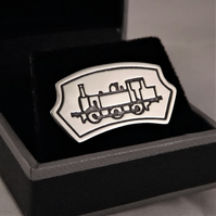 Steam Engine Tie Pin (Headboard Design), Silver Railway Jewellery, Gift for Him
