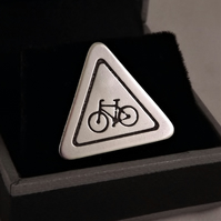 Cyclist Road Sign Tie Pin, Silver Bicycle Jewellery, Handmade Bike Gift for Him