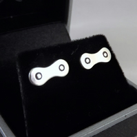 Bicycle Chain Stud Earrings, Silver Cycling Jewellery, Gift for Cyclist