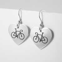Cycling Heart Drop Earrings, Silver Bicycle Jewellery, Handmade Bike Gift