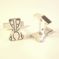 Badger Cufflinks, Silver Nature Jewellery, Handmade Wildlife Gift for Him