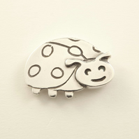 Ladybird Tie Pin, Silver Wildlife Gift for Men, Handmade Nature Jewellery