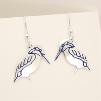Kingfisher Drop Earrings, Silver Bird Jewellery, Handmade Nature Gift for Her