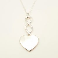 Large Heart Pendant, Silver Celtic Jewellery, Love Heart Necklace