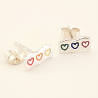 Rainbow Heart Stud Earrings, Silver Love Jewellery, Handmade Gift for Her