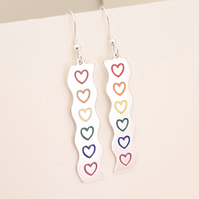 Rainbow Heart Drop Earring, Silver Enamel Heart Jewellery, Handmade Gift for Her