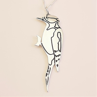 Woodpecker Pendant, Silver Bird Necklace, Handmade Wildlife Jewellery