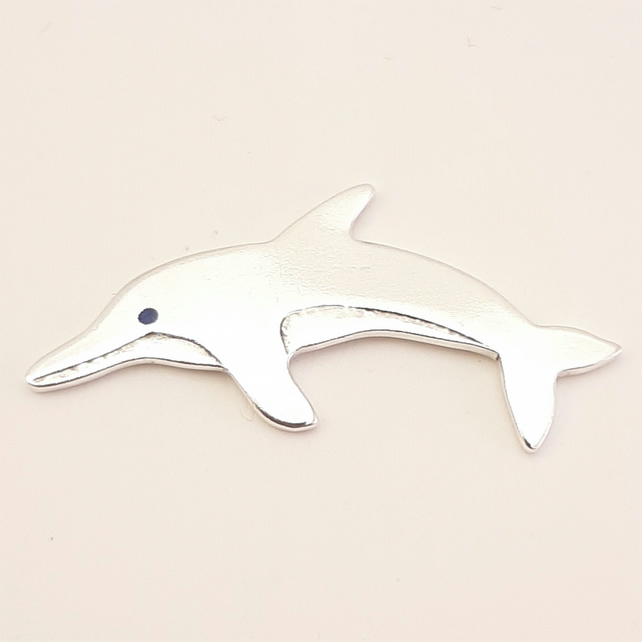 Dolphin Tie Pin, Silver Wildlife Jewellery, Handmade Nature Gift for Him