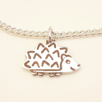 Hedgehog Anklet, Silver Wildlife Jewellery, Handmade Nature Gift