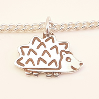 Hedgehog Bracelet, Silver Wildlife Jewellery, Handmade Nature Gift for Her