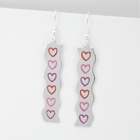 Wave Heart Drop Earring, Silver Enamel Heart Jewellery, Handmade Gift for Her