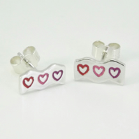 Wave Heart Stud Earrings, Silver Love Jewellery, Handmade Gift for Her