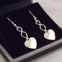 Heart Drop Earrings, Silver Celtic Jewellery, Handmade Welsh Gift for Her