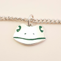 Frog Bracelet, Silver Animal Jewellery, Handmade Wildlife Gift for Her