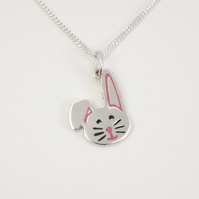 Rabbit Pendant, Silver Wildlife Jewellery, Gift for Nature Lover