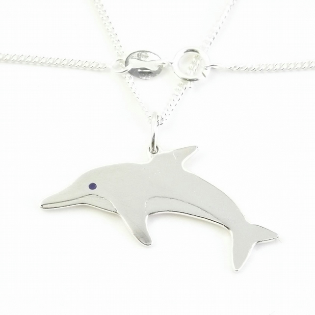 Dolphin Pendant (Large), Wildlife Necklace, Silver Nature Jewellery, Animal Gift