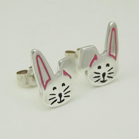 Rabbit Stud Earrings, Silver Wildlife Jewellery, Handmade Nature Gift for Her