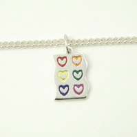 Rainbow Heart Bracelet, Silver Enamel Heart Jewellery, Handmade Gift for Her